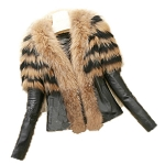Ladies Womens Brown & Black 2 Toned Faux Camel Fur Collar Leather Evening Casual Party Winter Jacket